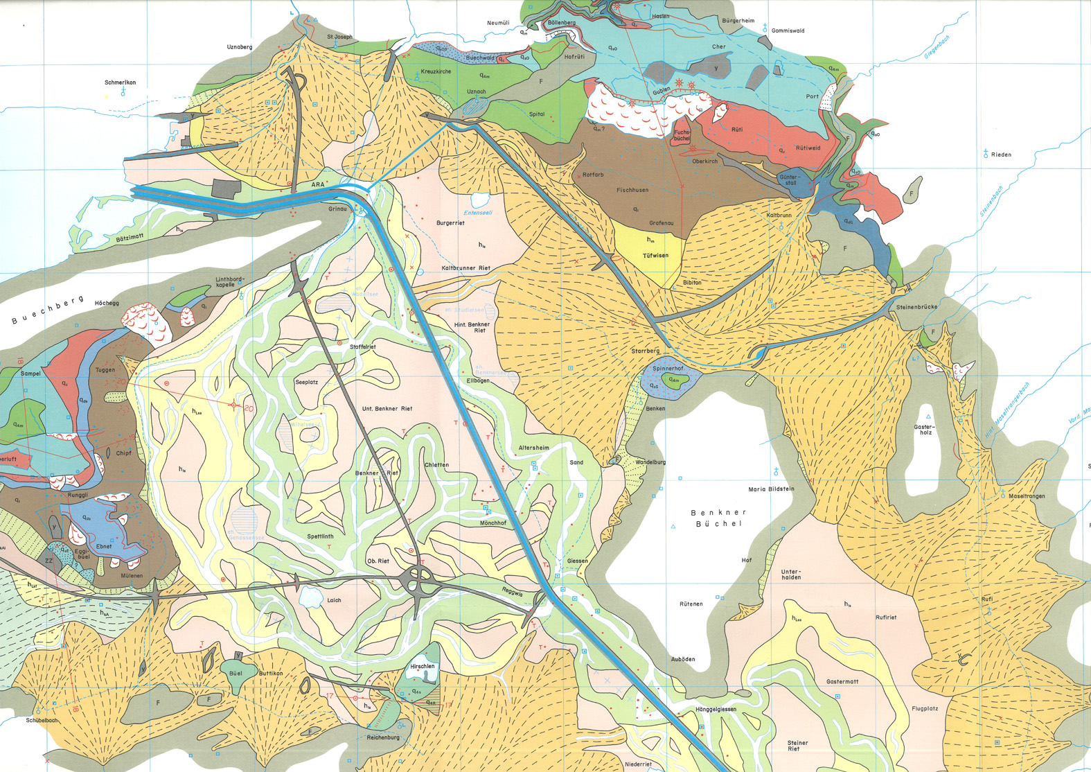 Quartärgeologische Karte der Linthebene
