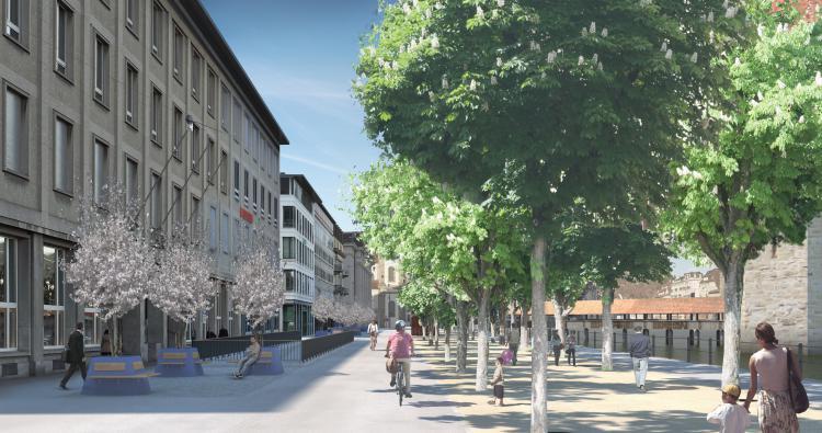 Zu- und Wegfahrt Velostation Bahnhofstrasse