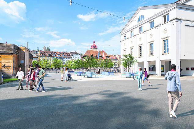 Visualisierung des Platzes vor dem Theater