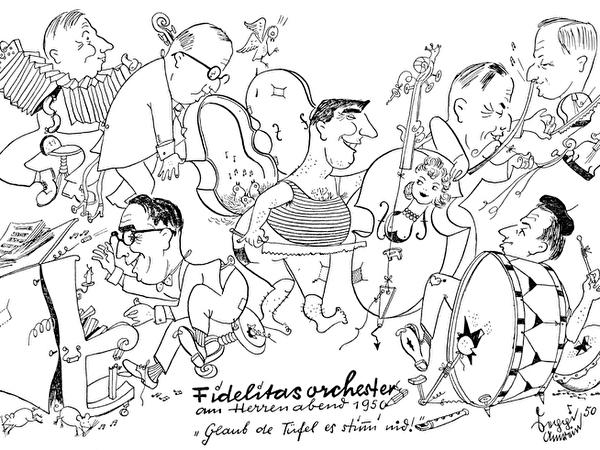 Fidelitasorchester am Herrenabend 1950: Karikaturen