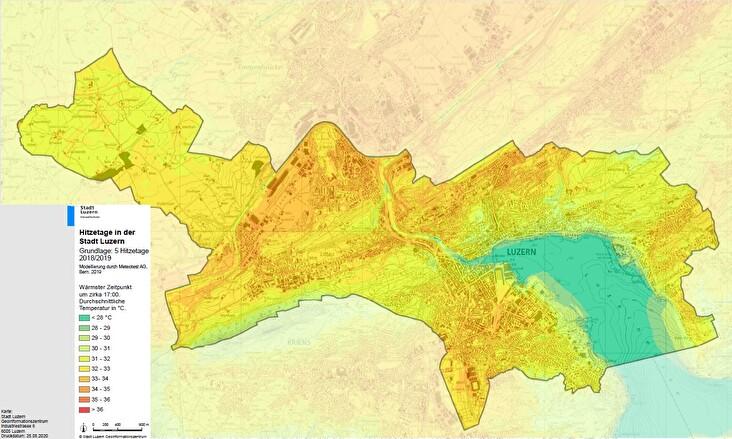 Hitzetage in der Stadt Luzern, 17:00 Uhr