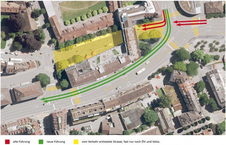 Pilatusplatz Y-Loesung Visualisierung 1 mit Pfeilen Verkehr