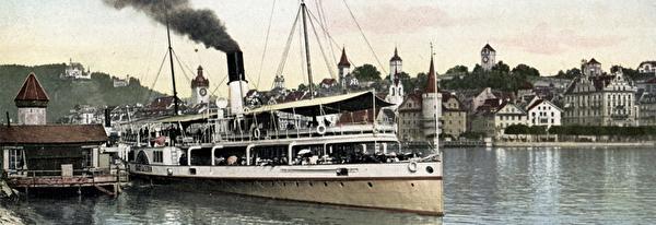 Dampfschiff Stadt Luzern am Quai beim Bahnhof, nach 1900