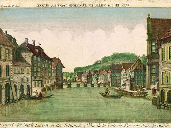 Guckkastenbild: Blick von der Jesuitenkirche reussabwärts