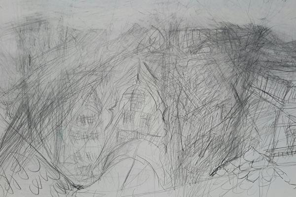 Über den Dächern von Altstätten Bleistift auf Papier