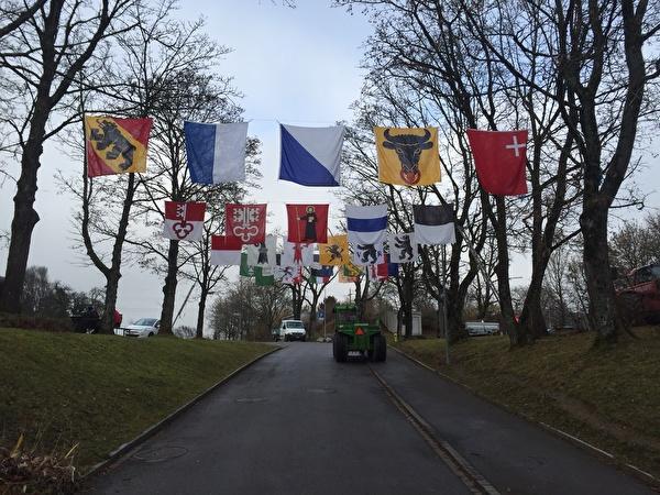 Beflaggung der Strasse