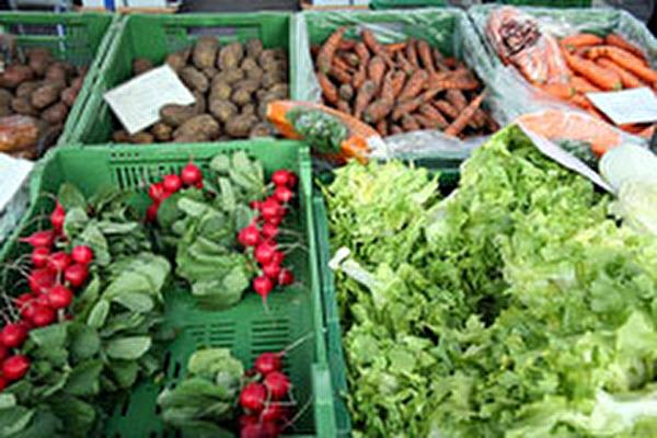 Gemüseauslage auf dem Markt