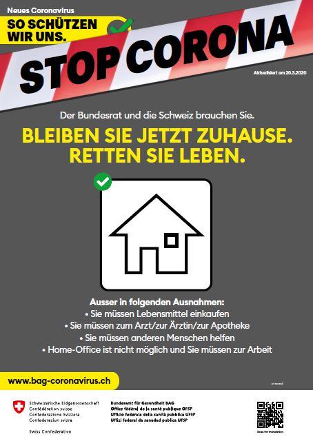 Plakat: Bleiben Sie zuhause