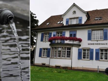 Bildercollage, Gemeindehaus und Brunnen