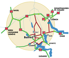 Lage Ballwil in der Region