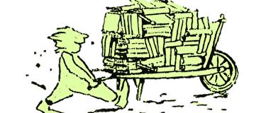 Mann mit Schubkarre voller Bücher