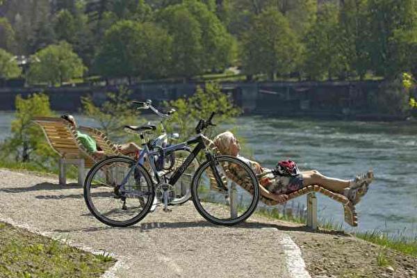 Rhein, Wellness, Liegen, Aussicht, Fahrrad, Velo