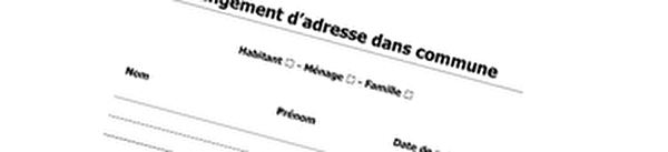 changement d'adresse