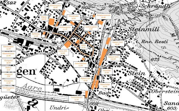 Übersicht Parkplätze Gemeinde Meiringen