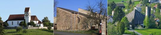 Bild: die drei Kirchen in Magden