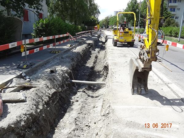 Graben für Gasleitung