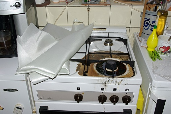 Kochherd nach dem Brand.