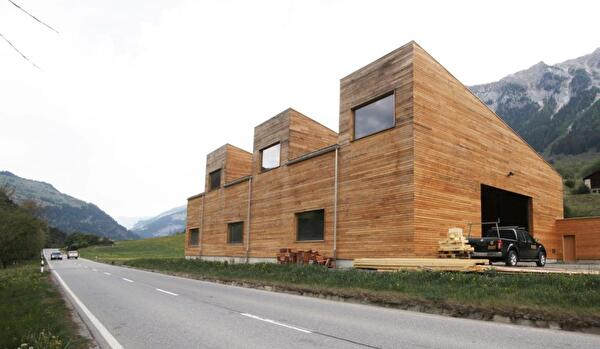 Abbundhalle Mani Holzbau, Pignia, 2011, Architekten Iseppi/Kurath, Foto: © Thomas Drexel
