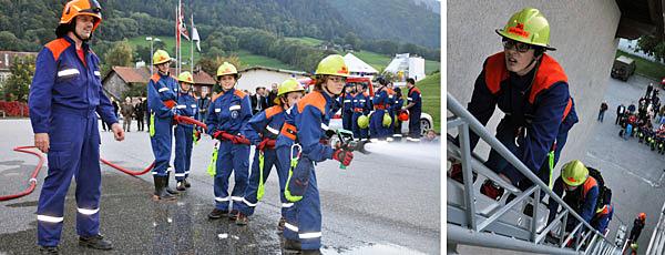 Die Jugendfeuerwehr Chur bei der jährichen Demonstration ihres Könnens.
