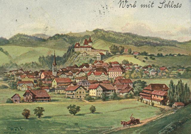 Generalansicht von Worb im 19. Jahrhundert.
