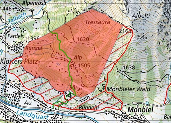 temporäre Erweiterung Wildruhezone Alp (Erweiterung rot schraffierter Bereich)