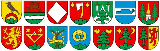 Die Wappen der 14 Ortsbürgerfamilien