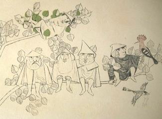Die Herdmännli gemäss der Sage, Freske von Felix Hoffmann im Schulhaus Densbüren