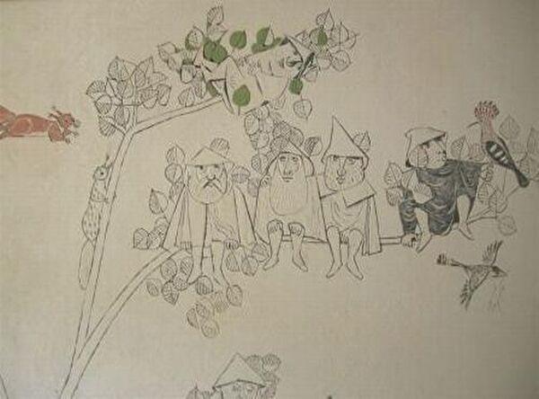 Bildausschnitt aus der Freske von Felix Hoffmann