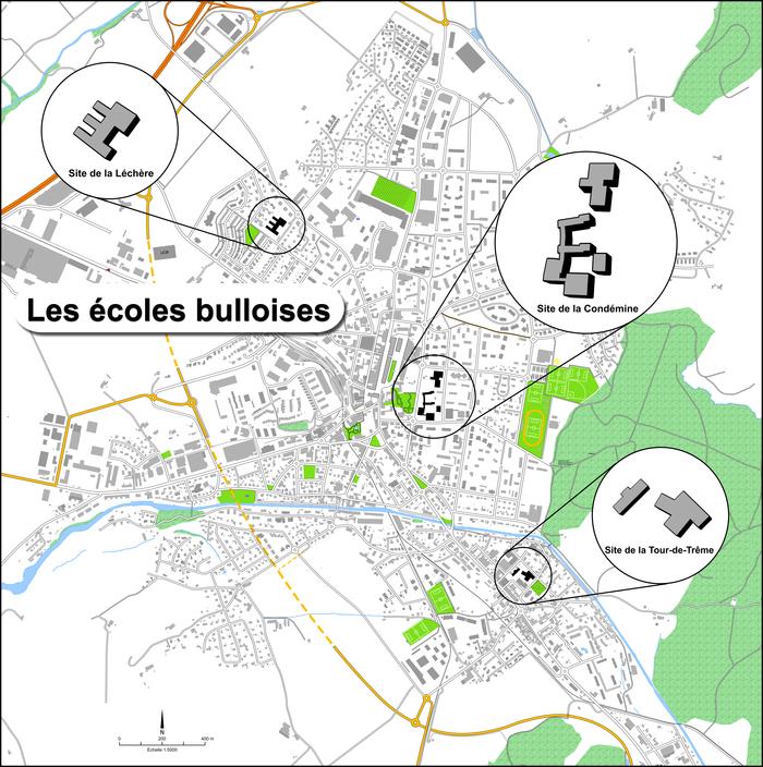 Plan de la Ville de Bulle avec emplacement des écoles primaires