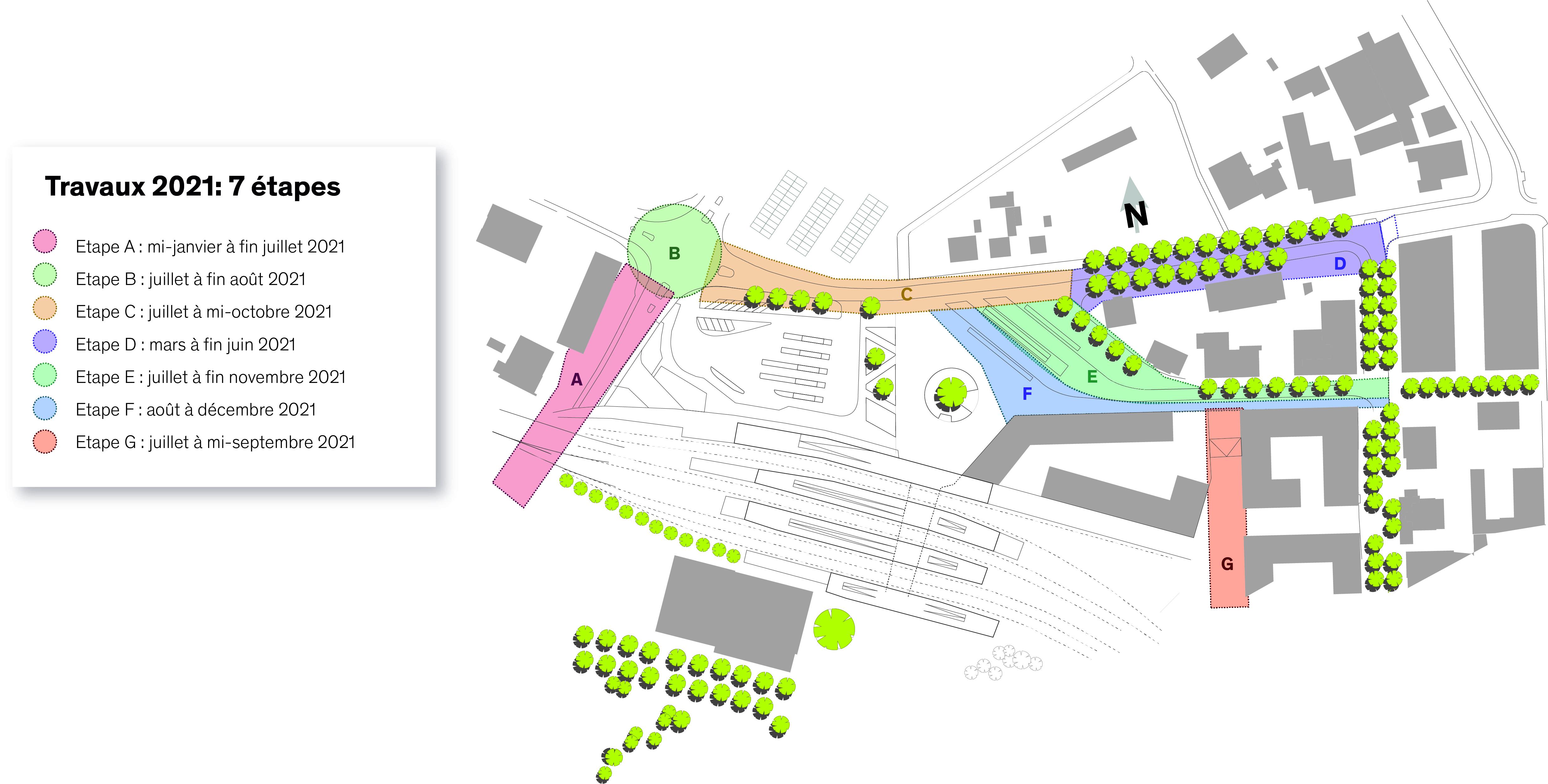 Calendrier travaux gare espaces publics 2021
