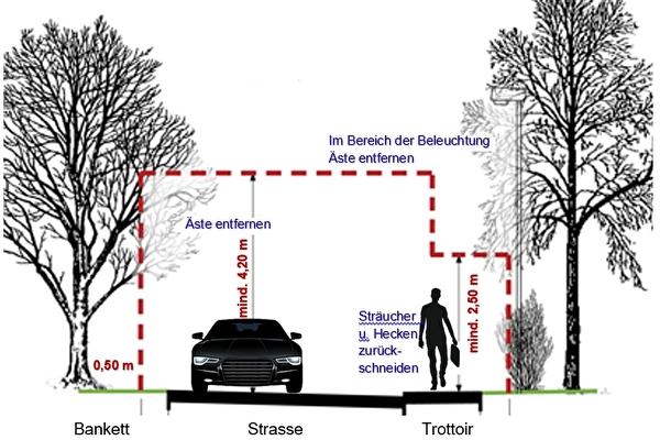 Bildliche Darstellung Lichtkegel Strassenbeleuchtung und Lichtraumprofil Strasse