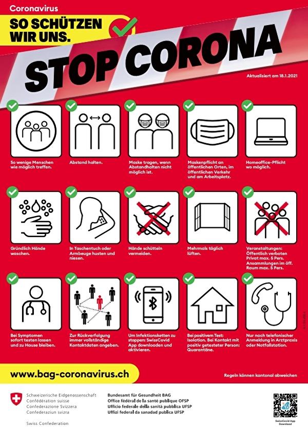 Anweisungen zum Schutz vor Coronavirus