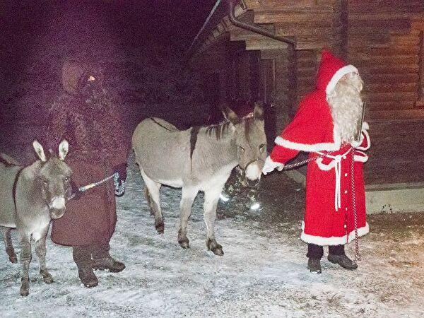 Samichlaus mit Schmtzli und seinen zwei Eseln