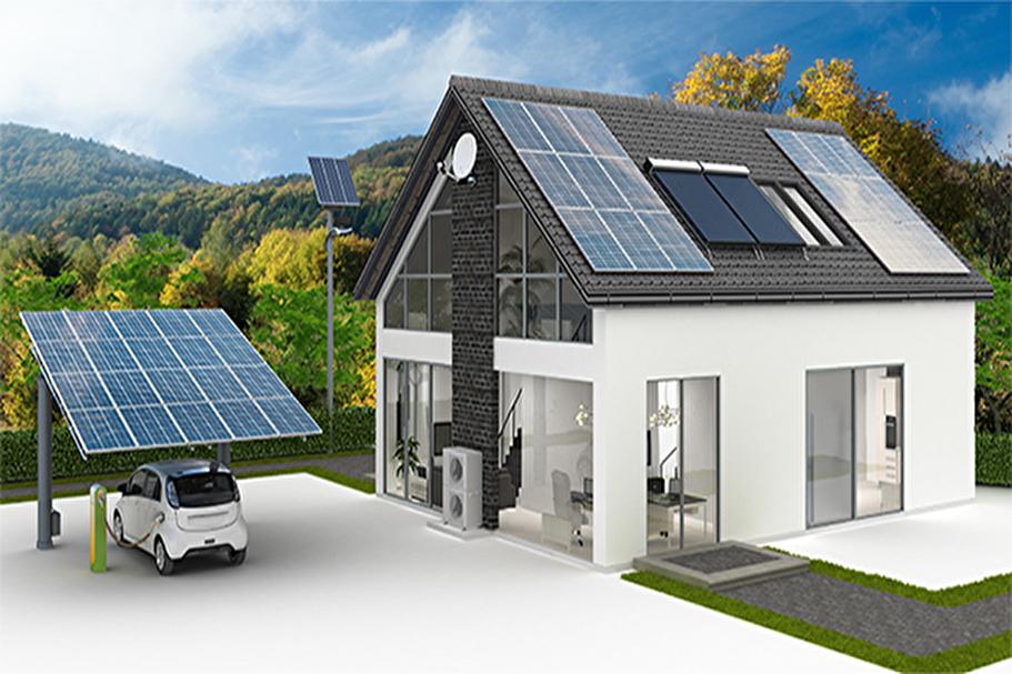 Visualisierung eines Hauses mit alternativer Energie