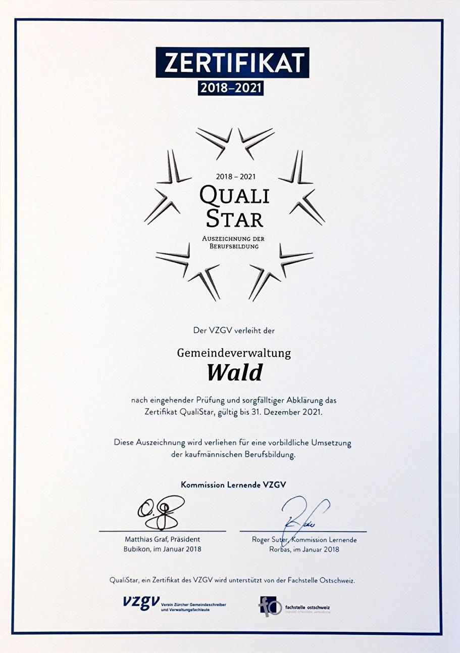 Zertifikat Qualistar