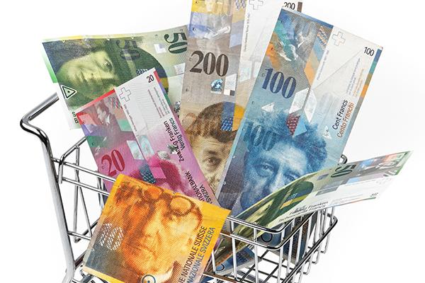 Geldnoten und ein Einkaufswagen