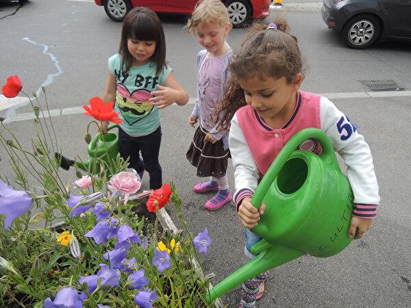 Blumen giessen