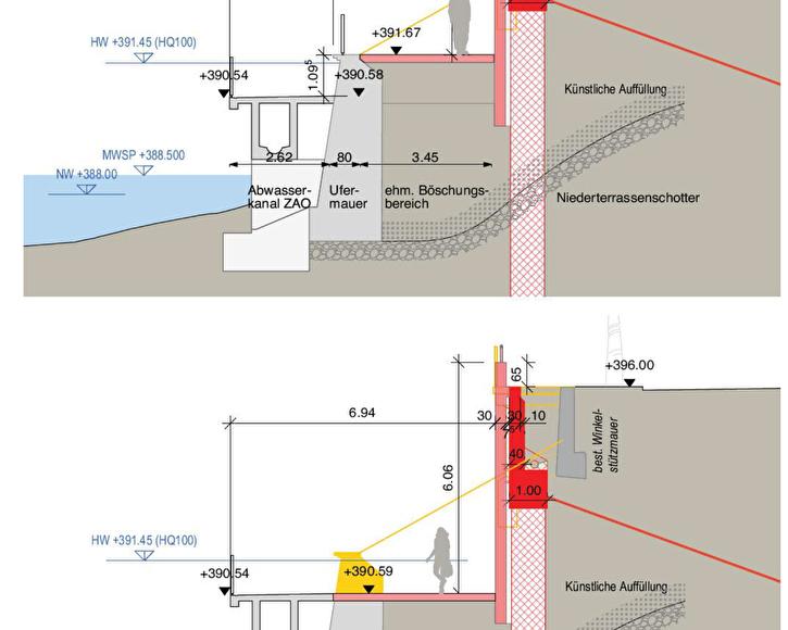 Phasen 1 (oben) und 2 der geplanten Ländiwegerneuerung