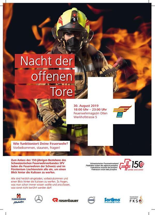 Nacht der offenen Tore der Feuerwehr Olten am 30. August 2019 von 18.00 Uhr bis 23.00 Uhr