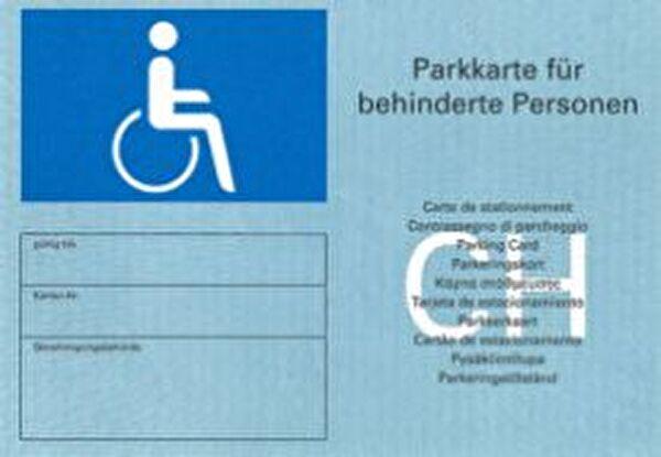 Parkkarte für gehbehinderte Personen