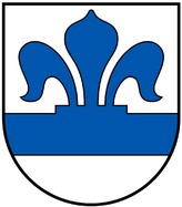 Pfeffinger Wappen. Blauer Balken mit aufgesetzter halber blauer Lilie auf silbernem Grund.