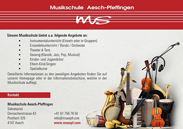 Angebote Musikschule Aesch-Pfeffingen