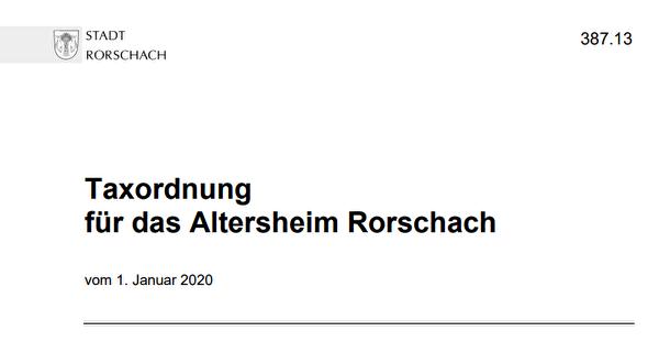 Foto Taxordnung Altersheim