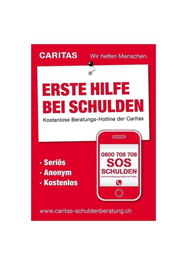 Unter 0800 708 708 können Sie kostenlos die Schuldenberatungsstelle der Caritas kontaktieren