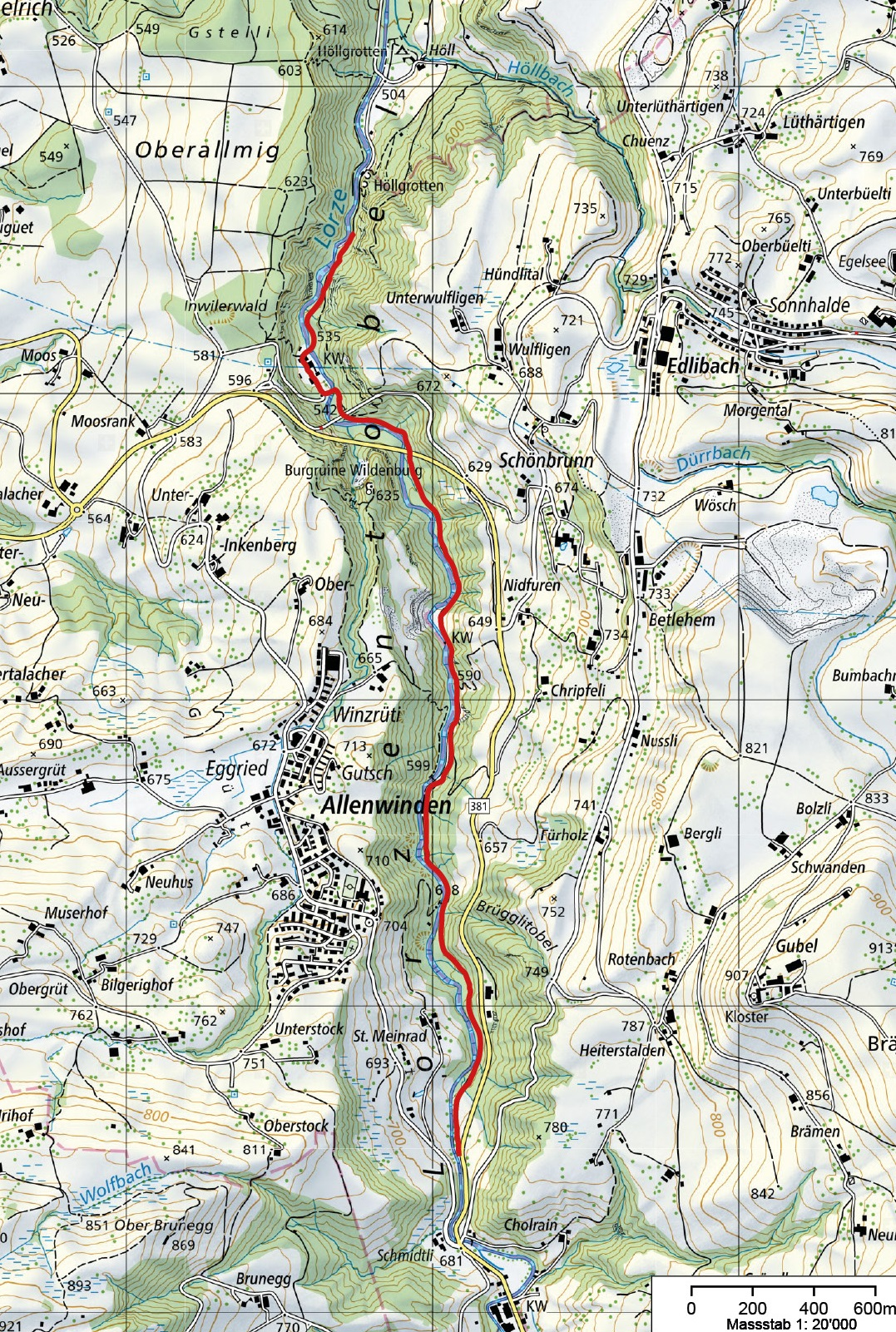 Wanderweg Lorzentobel
