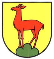 rote Hirschkuh gelber Hintergrund