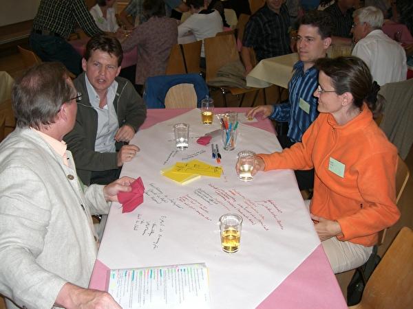 Tischtuchnotizen der Teilnehmer