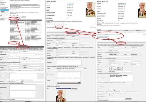 Visuelle Darstellung Anmeldung Firmenverzeichnis
