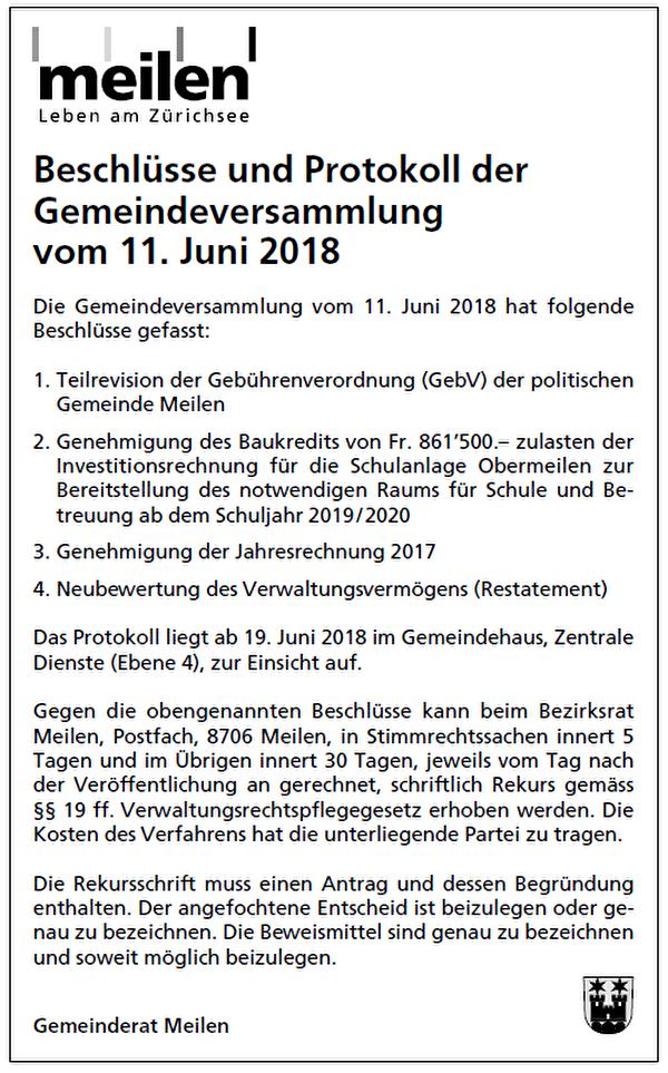 Publikation GV-Beschlüsse 15.06.2018