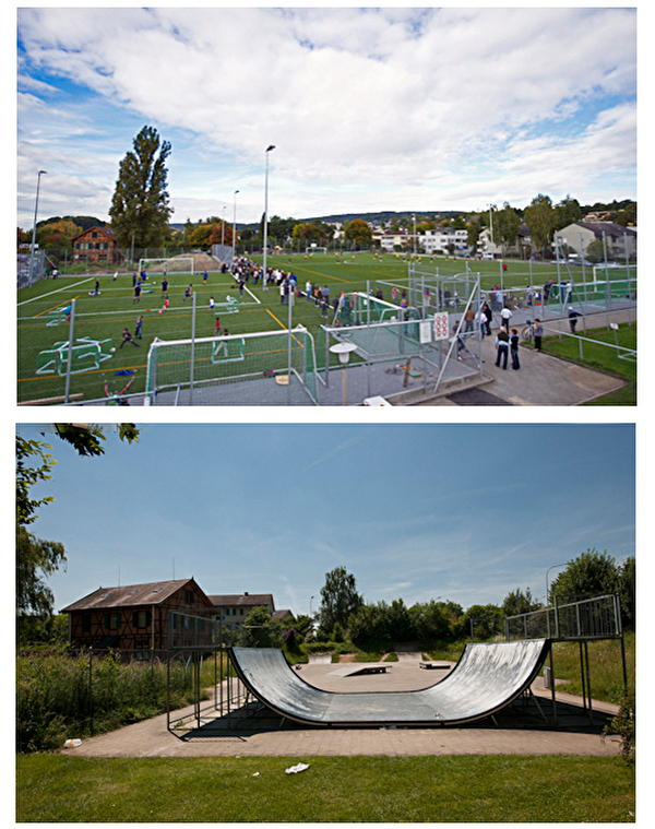 Fussballplatz Riet und Halfpipe der Skateranlage
